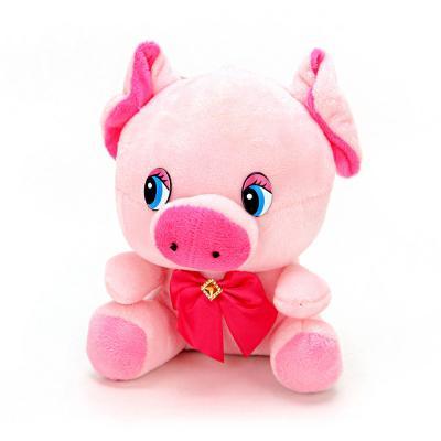 398-242 СНОУ БУМ Игрушка мягкая в виде свинки, полиэстер, 15 см, 6 видов