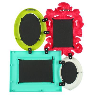 424-005 Фоторамка на 4 фотографии цветная, пластик, 35х41,5х3,3 см