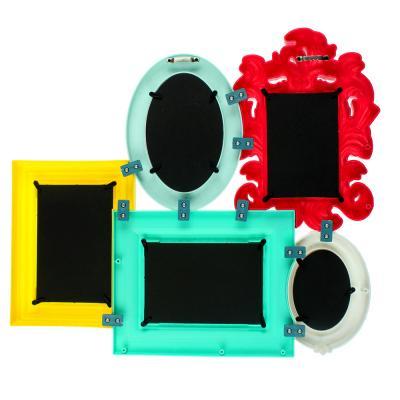424-006 Фоторамка на 5 фотографий цветная, пластик, 49х41,5х3,3 см, 2 вида
