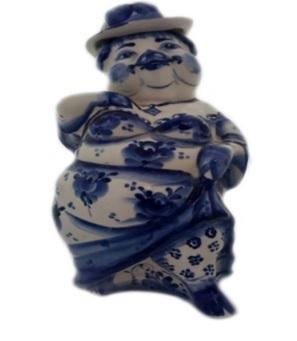 398-258 Сувенир в виде штофа, Гжельский фарфор 27x10x10,5см