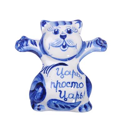 """509-769 Фигурка в виде кота """"Я Царь!"""", Гжельский фарфор, 8х8,5х6,5см"""