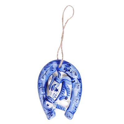 509-775 Сувенир Подкова, Гжельский фарфор, 9,5x7см