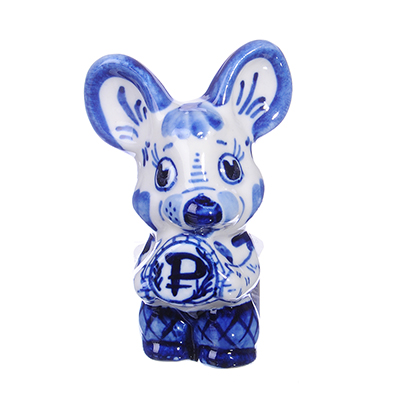 509-779 Фигурка Денежная мышка, Гжельский фарфор, 8,5x5x4см
