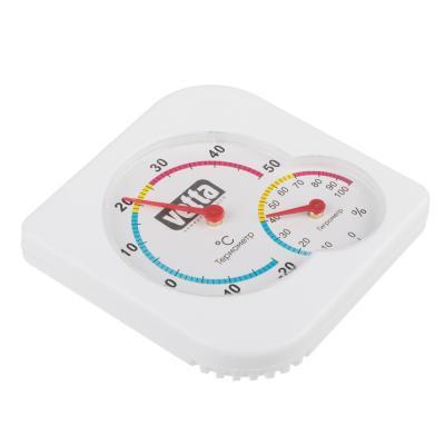 473-052 INBLOOM Термометр мини, измерение влажности воздуха, квадратный, 7,5x7,5см, пластик, блистер