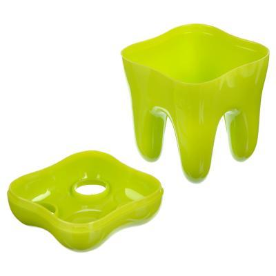 463-882 Подставка для зубных щеток в форме зуба, пластик 8х8х9,5 см, 2 цвета