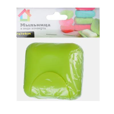 463-888 Мыльница в виде конверта смол, 7х7х4см, пластик, 3 цвета