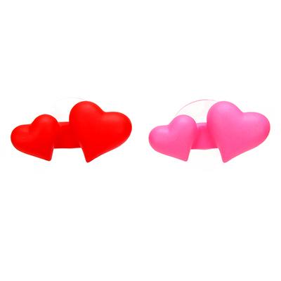 463-892 Держатель для зубной щетки на присоске в виде сердца, 9х4,5х3см, ПВХ, 2 цвета