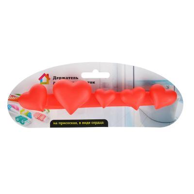 463-894 Держатель для зубных щеток на присосках в виде сердца, 21х5х3,5см ПВХ, 2 цвета
