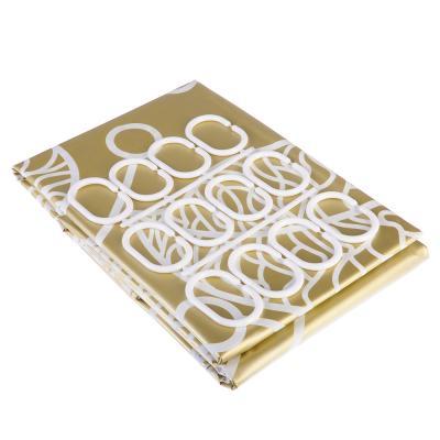 """461-499 VETTA Шторка для ванной, ЕВА, 180х180см, """"Ажурные листья"""", золото/серебро, 2 дизайна"""