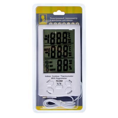 473-055 INBLOOM Термометр электронный, выносной датчик температуры, влажность, 15x9см, пластик, 1xAAA