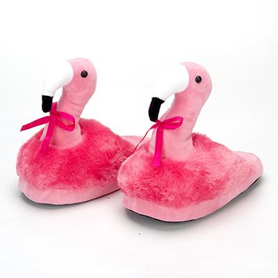 528-304 Тапочки в форме фламинго, полиэстер, 30х25см взрослые
