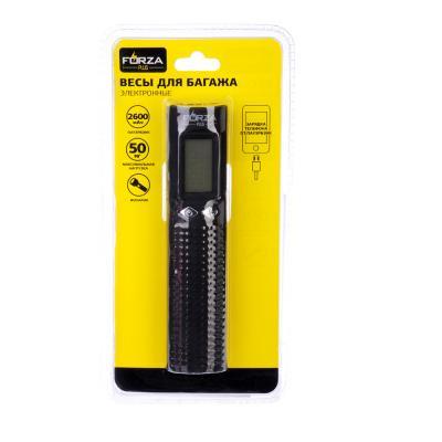 450-002 FORZA Весы для багажа электрон, фонарик, пауэрбэнк 2600 мАч, пластик, макс.нагр. 50кг (+-10гр)