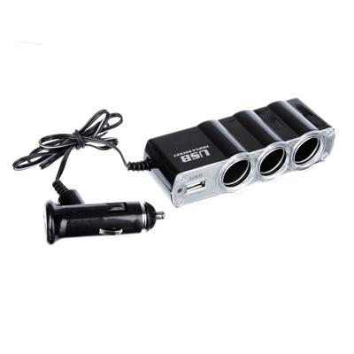 916-155 FORZA, 3 разветвителя прикуривателя + 1 USB, 1 провод 65см