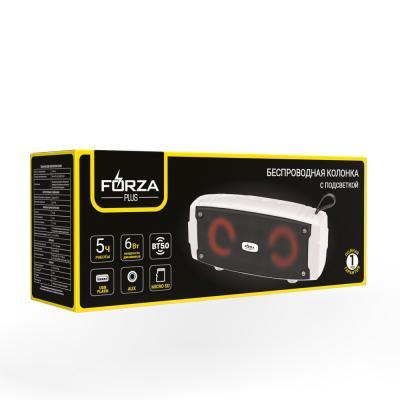 443-003 Колонка беспроводная FORZA подсветка, прорезиненная, 18.5см,1200мАч, USB, micro-SD,AUX