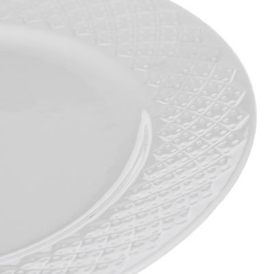 "821-716 Тарелка фарфоровая десертная, 20 см, рельеф, MILLIMI ""Жемчуг"""