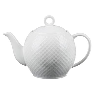 """821-721 Чайник заварочный фарфоровый, 1200  мл, рельеф, MILLIMI """"Жемчуг"""""""