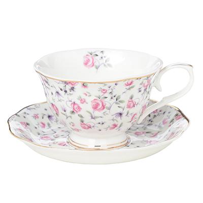 """821-734 Чайный сервиз 2 предмета: чашка 250 мл, блюдце 15 см, костяной фарфор, MILLIMI """"Пастораль"""""""