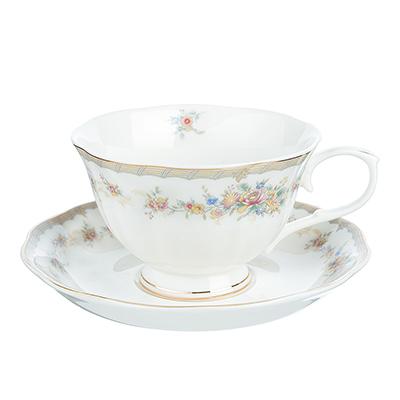 """821-755 Чайный сервиз 2 предмета: чашка 250 мл, блюдце 15 см, костяной фарфор, MILLIMI """"Версаль"""""""