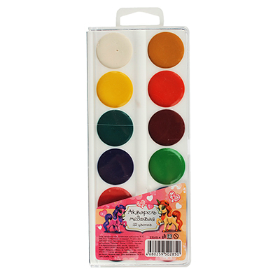 231-014 Акварельные краски медовые, 12 цветов, без кисточки, ЛОШАДКИ