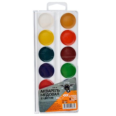 231-016 АВИАТОР Акварель медовая 12 цветов, без кисточки, в пластиковой упаковке