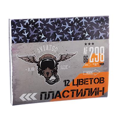 239-015 Авиатор Пластилин 12 цветов 240 грамм в картонном выдвижном пенале, восковая основа
