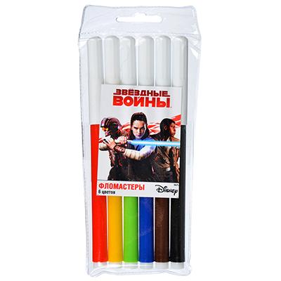 """256-140 Набор фломастеров, 6 цветов, в пластиковом пенале, """"Звездные войны"""", СТАММ"""