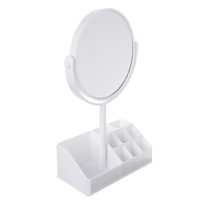347-078 Зеркало-органайзер для косметики, d. 15см, 26,5х17см, пластик, стекло, белый