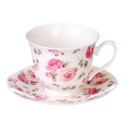 """821-783 Чайный сервиз 4 предмета, костяной фарфор, 250 мл, MILLIMI """"Роза"""""""