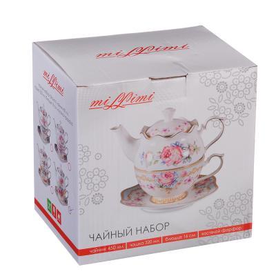 "821-812 MILLIMI Чайный набор 1 ""Эгоист"", чайник 450мл, чашка 320мл, блюдце 16см, костяной фарфор"