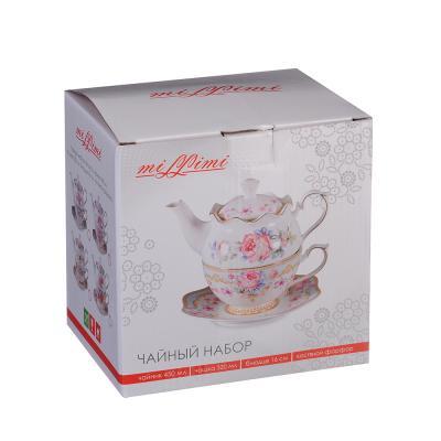 "821-813 Чайный набор, костяной фарфор, чайник 450 мл, чашка 320 мл, блюдце 16 см,  MILLIMI ""Эгоист"""