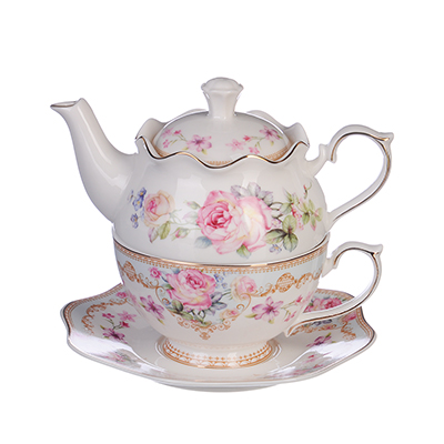 "821-813 MILLIMI Чайный набор 2 ""Эгоист"", чайник 450мл, чашка 320мл, блюдце 16см, костяной фарфор"
