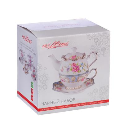 "821-815 Чайный набор, костяной фарфор, чайник 450 мл, чашка 320 мл, блюдце 16 см, MILLIMI ""Эгоист"""