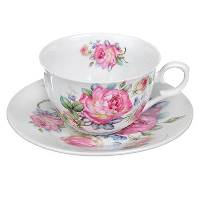 """821-822 Чайный сервиз 4 предмета, тонкий фарфор, 260 мл, MILLIMI """"Роза"""""""