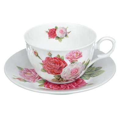 """821-824 Чайный сервиз 2 предмета, тонкий фарфор, 260 мл, MILLIMI """"Шиповник"""""""