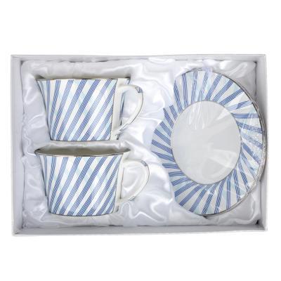 """821-870 Чайный сервиз 4 предмета, костяной фарфор, 270 мл, MILLIMI """"Лазурит"""""""