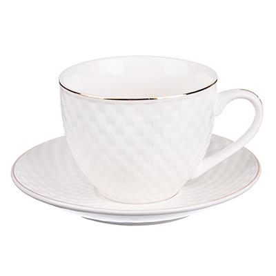 """821-906 Чайный сервиз 2 предмета, костяной фарфор, 240 мл, рельеф, MILLIMI """"Романс"""""""