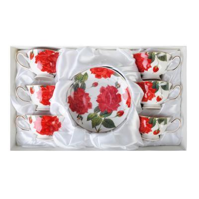 """821-921 Чайный сервиз 12 предметов, костяной фарфор, 220 мл, MILLIMI """"Пышная роза"""""""