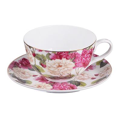 """821-934 Чайный сервиз 4 предмета, тонкий фарфор,330 мл, MILLIMI """"Роскошный сад"""""""