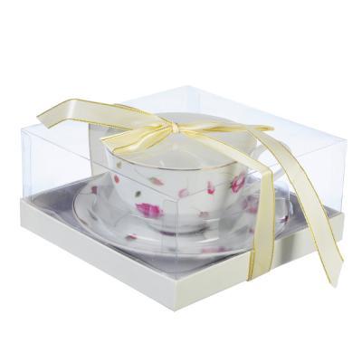"821-939 Чайный сервиз 2 предмета, тонкий фарфор, 330 мл, MILLIMI ""Любимый цветок"""