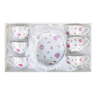 """821-941 Чайный сервиз 12 предметов, тонкий фарфор, 330 мл, MILLIMI """"Любимый цветок"""""""