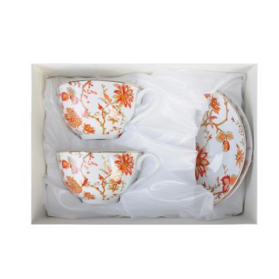 """821-949 Чайный сервиз 4 предмета, тонкий фарфор, 330 мл, MILLIMI """"Волшебные цветы"""""""