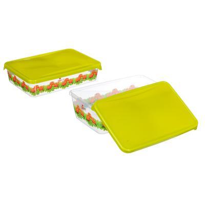 861-193 Набор контейнеров д/продуктов Браво, 2шт, прямоугольные, 0,9 л+1,35л, пластик, 3 дизайна, арт.GR1072