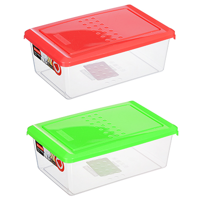 861-219 Емкость для хранения продуктов PATTERN, прямоугольная, 1,05л, цвета: коралл, лайм