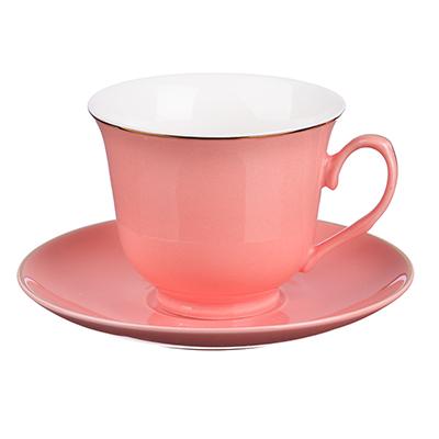 """821-951 Чайный сервиз 2 предмета, костяной фарфор, 250 мл, розовый, MILLIMI """"Пастель"""""""