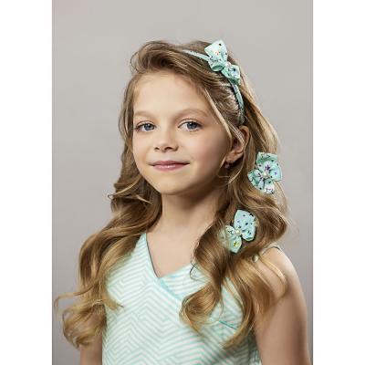 316-306 Набор детский для волос: ободок 1 см, заколка клик-клак 2шт. 4,5 см, полиэстер, сплав, 4 цвета