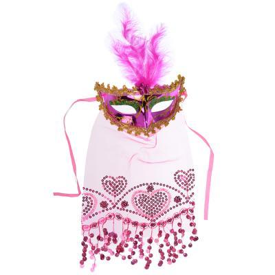 391-215 Маска карнавальная, с вуалью и перьями, полиэстер, 40х15,5 см, 6 цветов, СНОУ БУМ