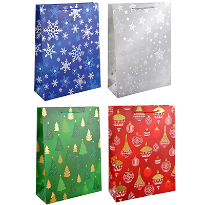 369-325 СНОУ БУМ Пакет подарочный, 31х42х12 см, бумага высокого качества с блеском, 4 вида, арт.0307