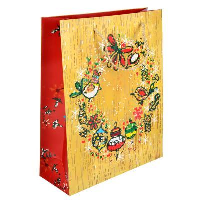 369-326 СНОУ БУМ Пакет подарочный, 26х32х10 см, бумага высокого качества с глиттером, 4 вида, арт.0308