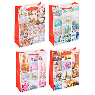 369-328 СНОУ БУМ Пакет подарочный, 24х18х8,5 см, бумага высокого качества с глиттером, 4 вида, арт.0310