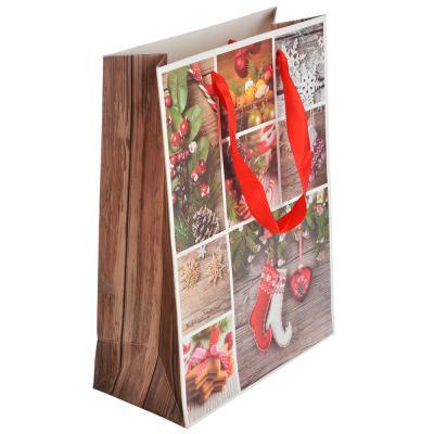 369-331 СНОУ БУМ Пакет подарочный, 24х18х8,5 см, бумага высокого качества с глиттером, 4 вида, арт.0313